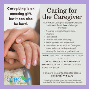 Image is of two peoples hands overlapping over a purple background.  Text provides details of the Caring for the Caregiver group as listed in the text above and below th eimage.